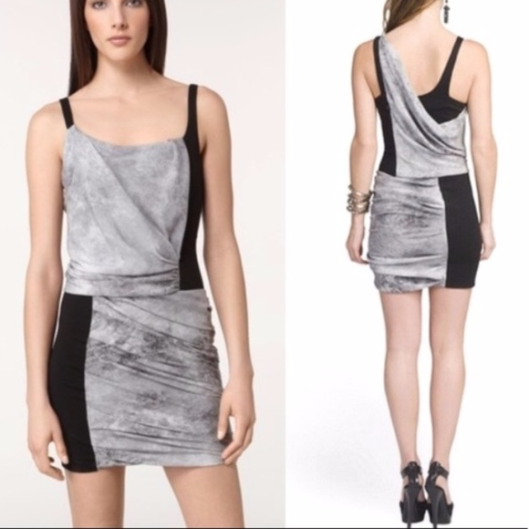 7125a317ea4e Helmut Lang Dresses | Graphite Printe Draped Mini Dress | Poshmark